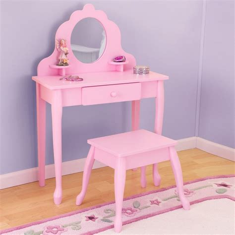 bedroom table l sets kids vanity set pink girls table stool mirror bedroom wood