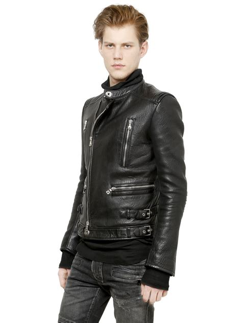padded leather motorcycle jacket lyst balmain padded nappa leather biker jacket in black