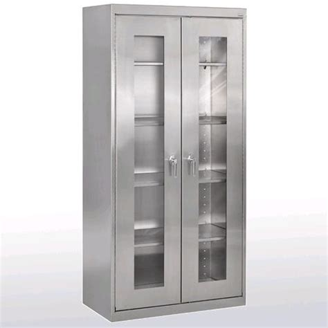 All Stainless Steel Clear View Storage Cabinet By Sandusky