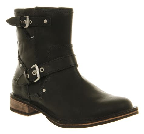 ugg fabriza motorcycle boot black leather in black lyst