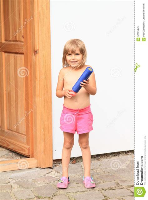 little girl up shorts little girl with water gun stock photo image 57379445