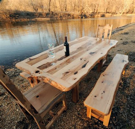 Natural land feat rustic outdoor dining room with solid wood table and