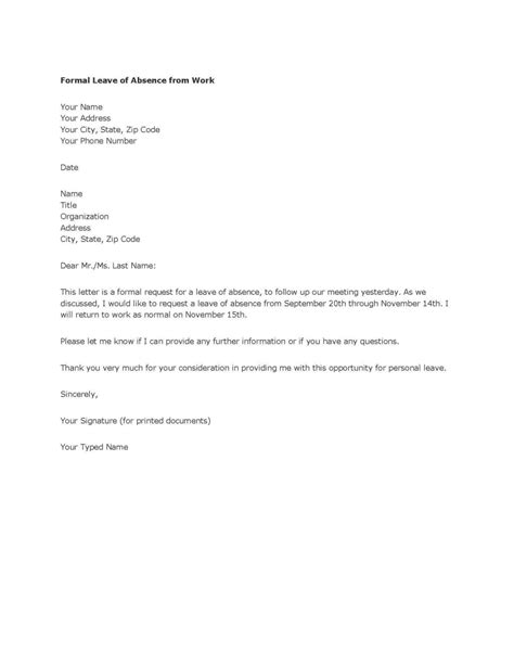 Leave Of Absence Letter Sle For Employer Proper Personal Leave Of Absence Letter Letter Format Writing