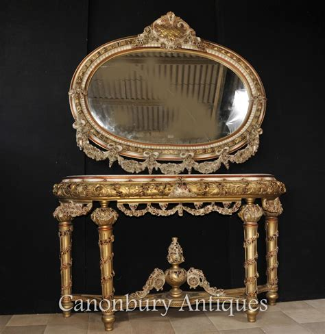 rococo couch louis xvi painted console table and mirror set rococo