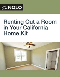 how to rent out a room renting out a room in your california home kit form guide nolo