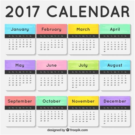 Calendario Por Meses 2017 Calendario 2017 Con Meses De Colores Descargar Vectores