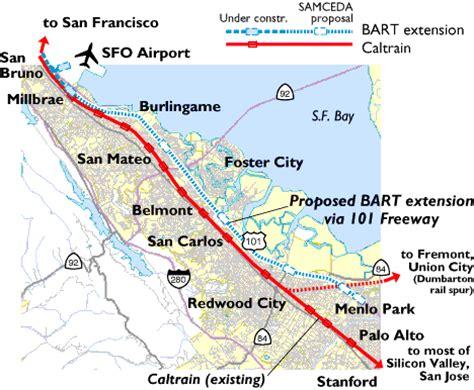 bart san jose extension map samceda 1999 for bart via 101 to menlo park