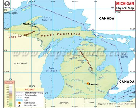 physical map of michigan buy physical map of michigan
