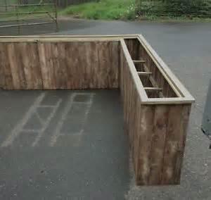 wooden garden flower herb planter trough box plant pot
