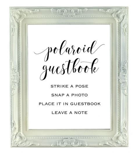 Polaroid Guestbook Sign 8x10 Instant Download Wedding Sign Printable Party Sign Photo Polaroid Guest Book Sign Template