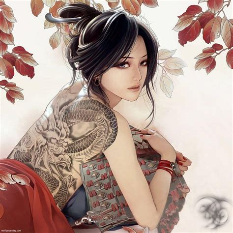 yakuza tattoo lady anime girl tattoo on back 7 real time wallpapers