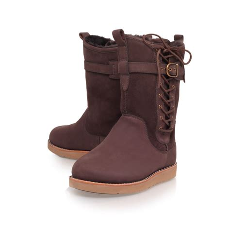 ugg amelia flat boots in brown lyst