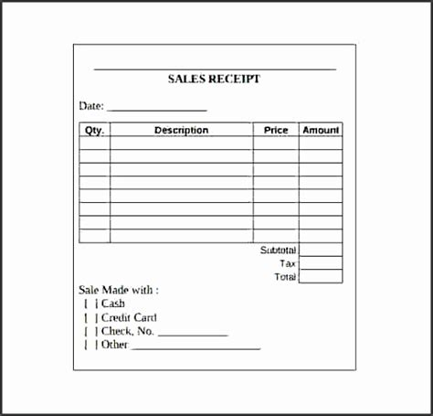 quarter page sales receipt template 9 blank sales receipt template sletemplatess