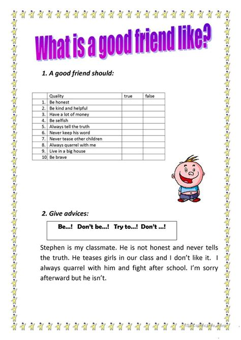 Friendship Worksheets by Being A Friend Worksheet Images