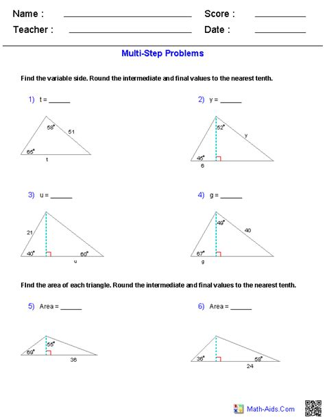 Right Triangle Trigonometry Worksheets