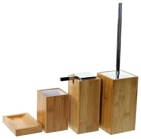 Wooden 4 Piece Bamboo Bathroom Accessory Set Wood Bathroom Accessories