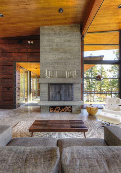 modern lakefront cabin in idaho usa contemporary fireplace modern lakefront cabin in idaho usa