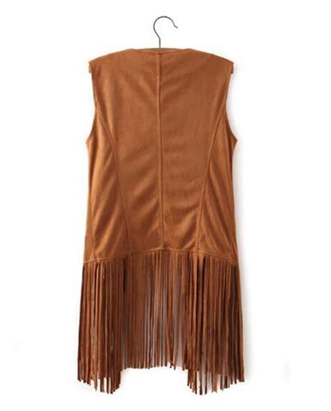 Black Fringed Sleeveless Top Size Sml 12740 faux suede tassel fringed cardigan vest retro sleeveless jacket waistcoat tops