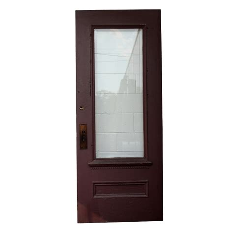 Salvaged 34 Pine Exterior Door With Dentil Trim Beveled Salvaged Glass Doors