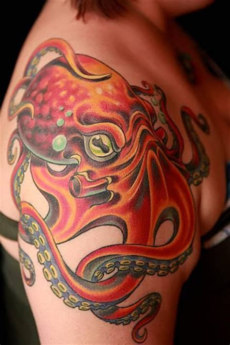 tattoo octopus color tattoo arm tattoo chest tattoo animal color octopus shoulder tattoo by durb tattoonow