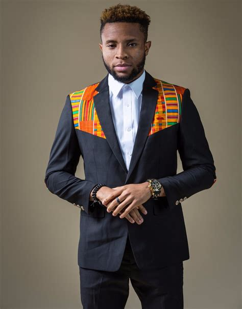 cologne african america men wear 2 in 1 kente elbow patches blazer black style 1