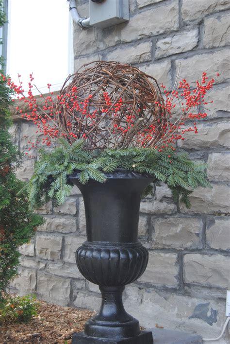 winter urn   grapevine ball christmas topiary