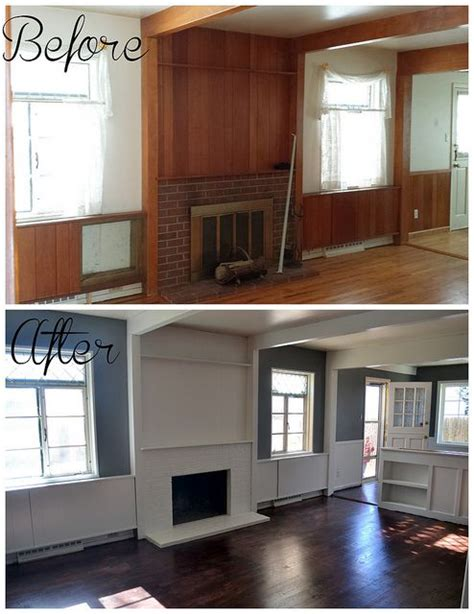 before and after stain refinished floors gray walls white trim and beams new house