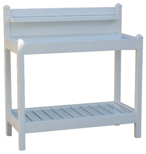 pvc bench white pvc vinyl potting bench outdoor garden bakers rack