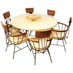 mid century modern dining set with table and six chairs by