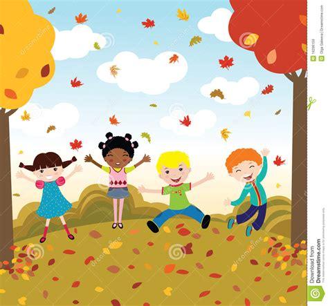 Im For Children by Gl 252 Ckliche Kinder Im Herbst Vektor Abbildung Bild 16296159