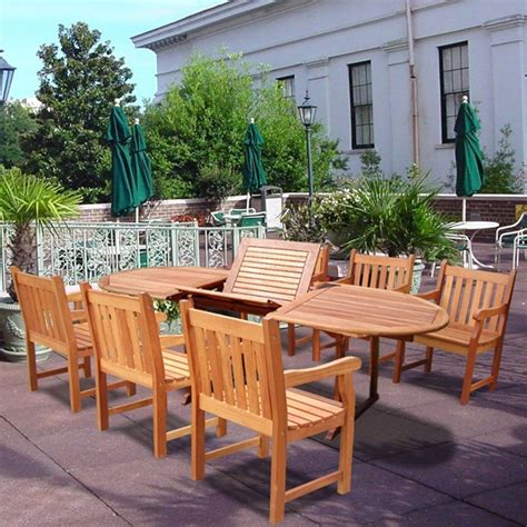 patio dining set 7 vifah v144set21 wood 7 patio dining set with oval extension table and armchairs patio table