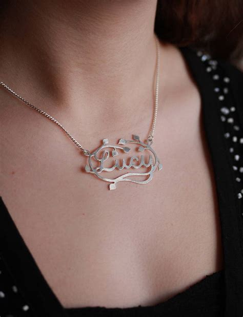 Handmade Name Necklace - handmade silver decorative name necklace by jemima lumley