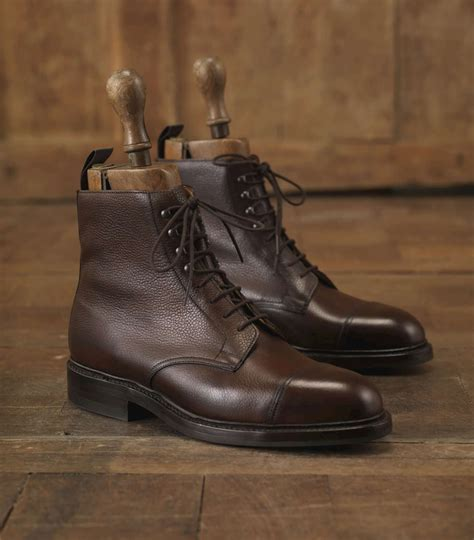leather sole boots purdey brown mens grain leather boot with dainite sole