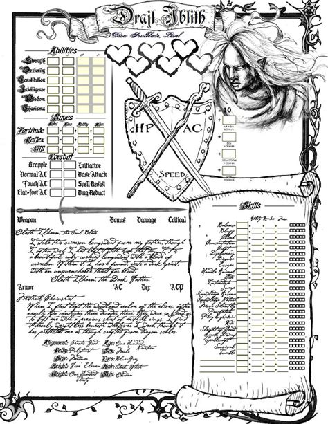 printable directions for uno attack drajl character sheet page 1 by innocentbystander19 on