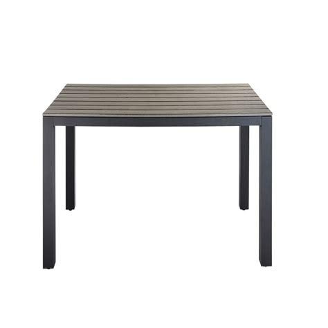 Composite Patio Table Garden Table In Imitation Wood Composite And Aluminium In Grey W 104cm Escale Maisons Du Monde