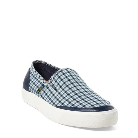 plaid slip on sneakers polo ralph itford plaid slip on sneaker in blue for