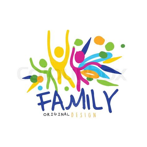 Familie Schriftzug by Colorful Happy Family Logo Original Design With Abstract