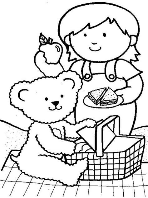 picnic coloring pages preschool teddy bears picnic clipart 37