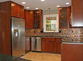 tile backsplash ideas for cherry wood cabinets home - Kitchen Cabinets With Backsplash
