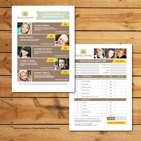School Photos Pricing Order Form Template Preschool Photography Pinterest School Photos School Photo Templates Free