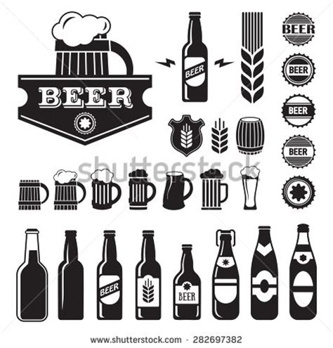 craft beer black white sticker logo stock vector 393749374 beer logo vector clipart 90