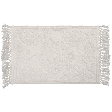 27 X 45 Bath Rug Jean Ricardo Cotton Fringe 27 In X 45 In Bath Rug In White Yma007498 The Home Depot