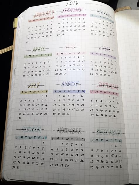 Calendar When Not To Get Bullet Journal Yearly View Would Like To Include This
