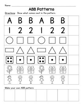 letter pattern worksheets kindergarten aab and abb patterns worksheets activities and students