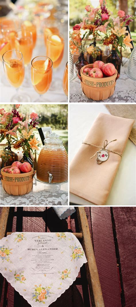 outdoor country western themed wedding signature drinks rustic centerpieces onewed
