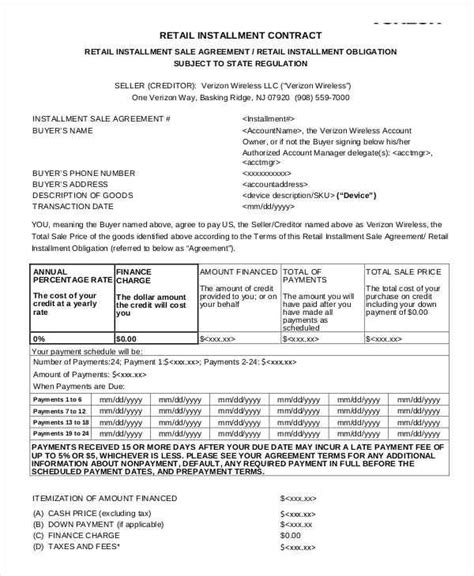 installment sale agreement template installment sales contracts retail installment sales