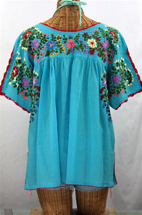 Blouse By Liblre quot lijera libre quot plus size embroidered mexican blouse aqua