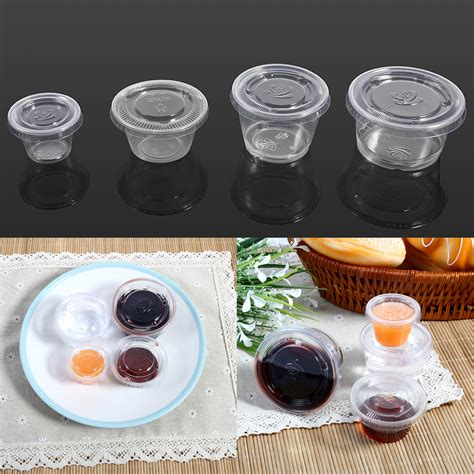 cuisine cup clear hinged lid plastic disposable sauce containers cups