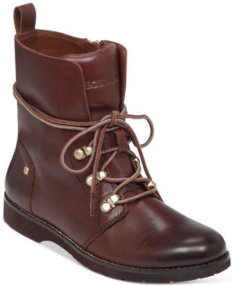 bcbgeneration boots bcbgeneration dover lace up boots in brown cognac lyst