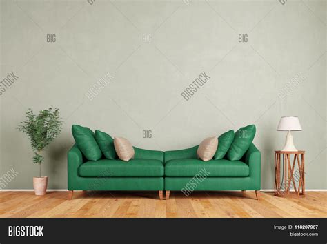 green standing room green sofa in living room standing in front of a wall 3d rendering stock photo stock images